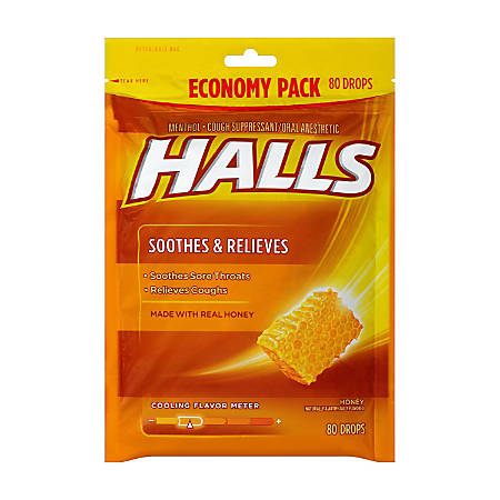 Halls Honey Cough Drops, 80 Drops Per Bag, Pack Of 2 Bags