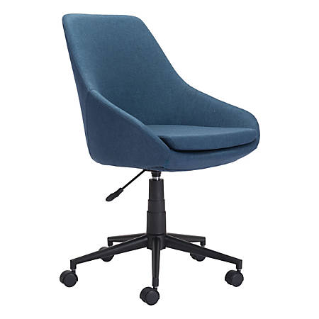 Zuo® Modern Powell Mid-Back Chair, Fabric, Blue/Black