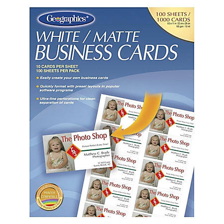 """Geographics Inkjet, Laser Print Business Card - 3 1/2"""" x 2"""" - 65 lb Basis Weight - Recycled - 30% Recycled Content - Matte - 100 / Pack - White"""