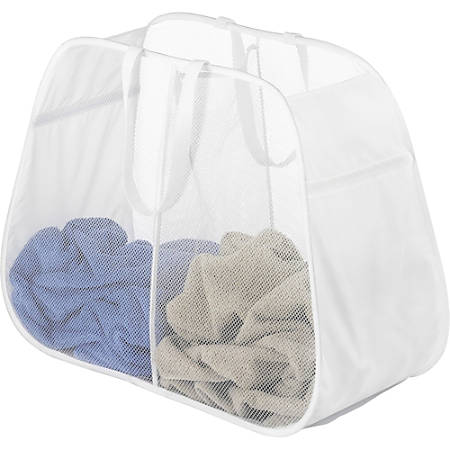 """Whitmor Laundry Bag - 28"""" Width x 21"""" Length x 12"""" Depth - White - Polyester - Garment"""