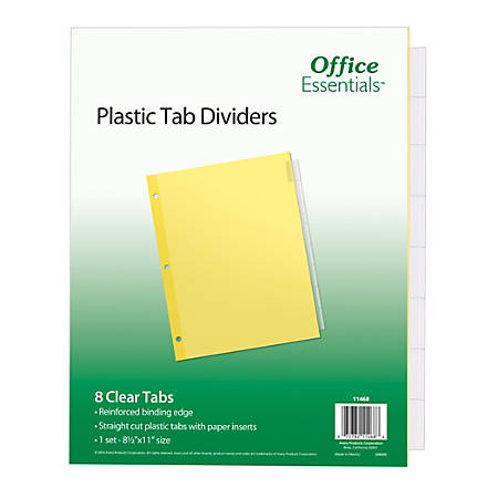 """Avery® Office Essentials Insertable Dividers, 8-Tab, 8 1/2"""" x 11"""", Buff/Clear"""