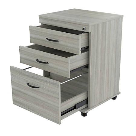 "Inval 17-11/16""D Vertical 3-Drawer File Cabinet, Smoke Oak"