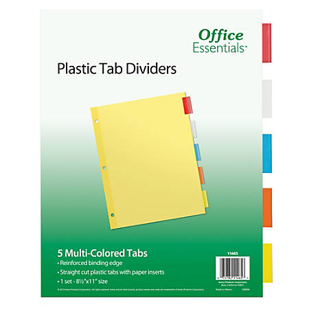 "Avery® Office Essentials Insertable Dividers, 5-Tab, 8 1/2"" x 11"", Buff/Clear"
