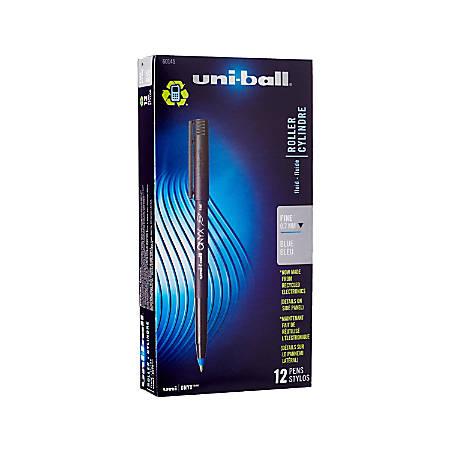uni-ball® Onyx® Rollerball Pens, Fine Point, 0.7 mm, Black Barrel, Blue Ink, Pack Of 12