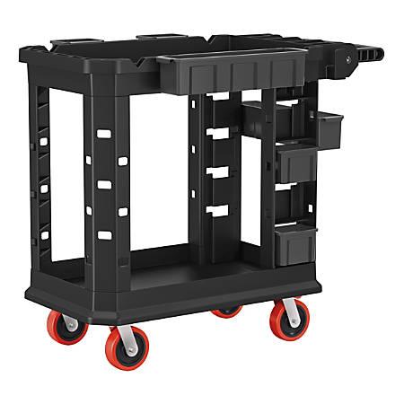 "Suncast Commercial Heavy-Duty Plus 2-Shelf Utility Cart, 34-13/16""H x 19-1/2""W x 41-3/4""D, Gray"