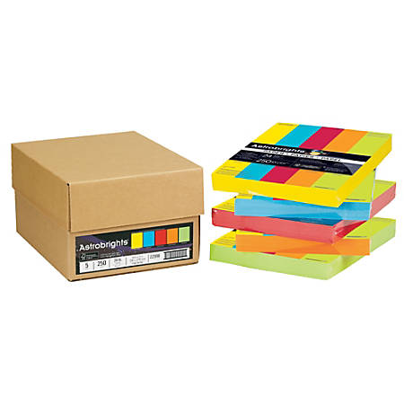 Neenah Astrobrights® Bright Color Paper, Letter Size, 24 Lb, Assorted Colors, 250 Sheets Per Ream, Case Of 5 Reams