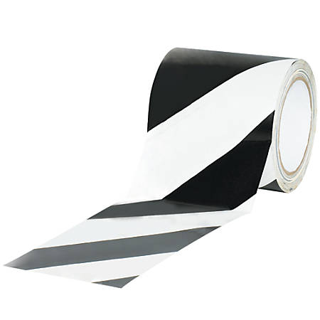"""BOX Packaging Striped Vinyl Tape, 3"""" Core, 4"""" x 36 Yd., Black/White, Case Of 12"""