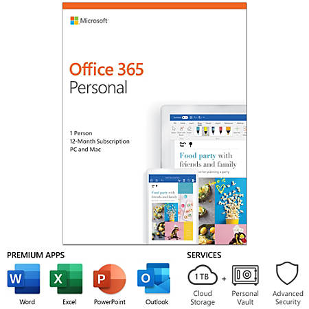 Microsoft® Office, 365 Personal, For 1 User, 1-Year Subscription, Product Key Card