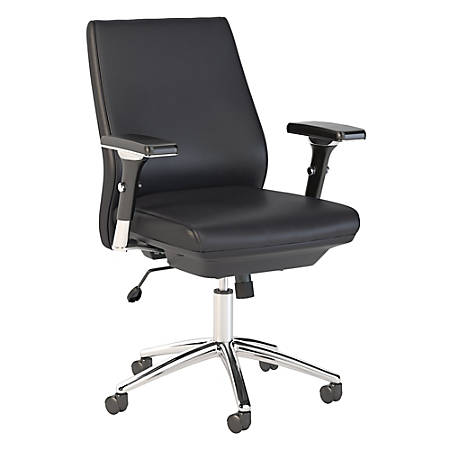 Bush Business Furniture Metropolis Mid Back Leather Office Chair, Black, Standard Delivery