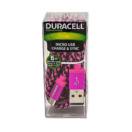 Duracell® Fabric Micro USB Cable, 6', Black/Pink, LE2241