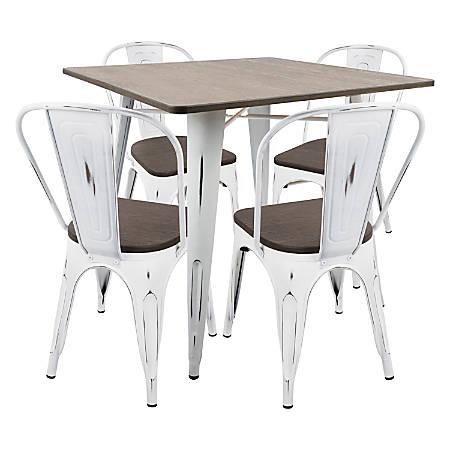 Lumisource Oregon Industrial Farmhouse Dining Table With 4 Dining Chairs, Vintage White/Espresso