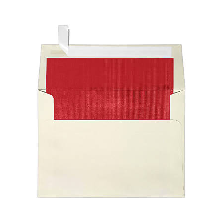 "LUX Invitation Envelopes With Peel & Press Closure, A7, 5 1/4"" x 7 1/4"", Natural/Red, Pack Of 50"