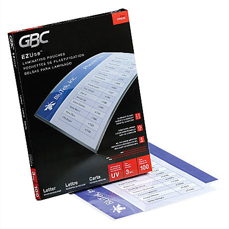 """GBC® EZUse™ Thermal Laminating Pouches, UV Protection, Letter Size, 3 Mil, 9"""" x 11 1/2"""", Clear, Pack Of 100"""