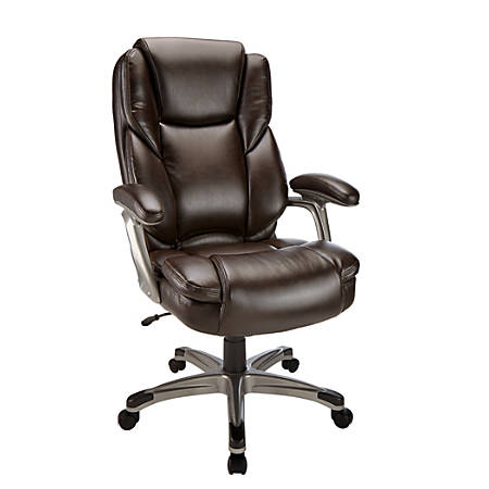 Realspace® Cressfield Bonded Leather Executive High-Back Chair, Brown/Silver