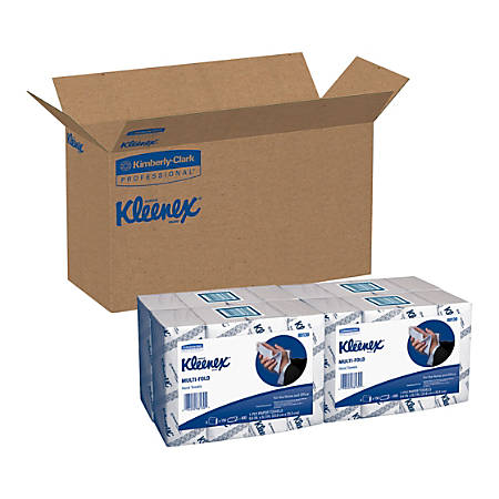 """Kleenex Multi-fold Towels - 1 Ply - 9.20"""" x 9.40"""" - Blue, White - Soft, Absorbent, Multi-fold - For Hand - 150 Sheets Per Bundle - 16 / Carton"""