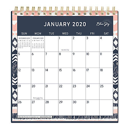 "Blue Sky™ Wirebound Desk Calendar With Stand, 6"" x 6"", Tappeto, January to December 2020"