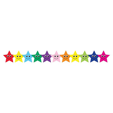 "Hygloss Colorful Happy Stars Border Strips - 12 (Happy Stars) Shape - Damage Resistant, Durable, Long Lasting - 36"" Height x 3"" Width - Assorted - 12 / Pack"