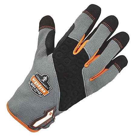 ProFlex 820 High-abrasion Handling Gloves - 8 Size Number - Medium Size - Poly, Neoprene Knuckle - Gray - Pull-on Tab, Abrasion Resistant, Reinforced Thumb, Knitted, Comfortable, Rugged, Reinforced Saddle, Hook & Loop Closure, Abrasion Resistant, Reinforced Palm Pad - For Construction, Material Handling, Warehouse, Assembling, Distribution, Packaging - 1 / Pair