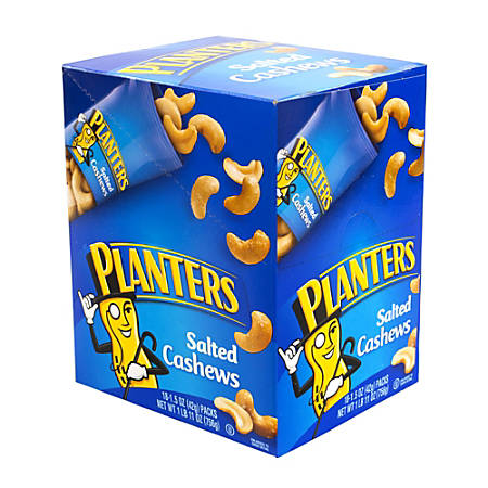 Planters Nut Pouches, Salted Cashews, 1.5 Oz, Box Of 18