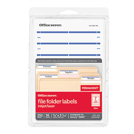 "Office Depot® Brand Print-Or-Write Color Permanent Inkjet/Laser File Folder Labels, OD98817, 5/8"" x 3 1/2"", Dark Blue, Pack Of 252"