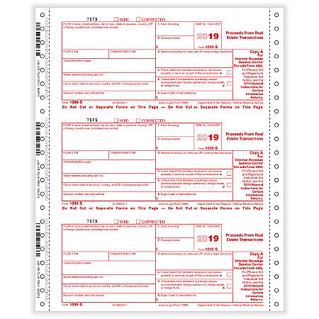 """ComplyRight™ 1099-S Tax Forms, Continuous, Copies A, State, B And C, 4-Part, 9"""" x 11"""", Pack Of 100 Forms"""