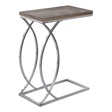 Amazing Monarch Specialties Side Accent Table Rectangular Dark Taupe Chrome Item 6604644 Machost Co Dining Chair Design Ideas Machostcouk