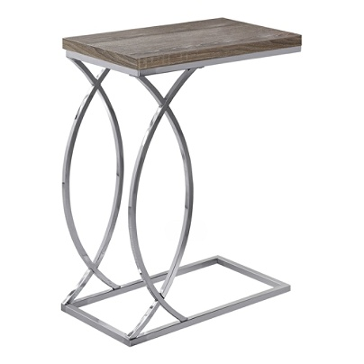 Monarch Specialties Side Accent Table Rectangular Dark Taupe Chrome Item 6604644