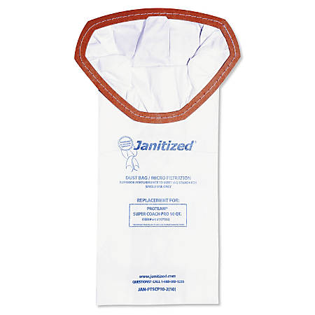Janitized® ProTeam Super Coach Pro 10 Vacuum Filter Bags, 10 Qt, White, Pack Of 100 Bags