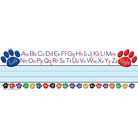 "Teacher Created Resources Flat Name Plates, 3 1/2"" x 11 1/2"", Colorful Paw Prints Left/Right Alphabet, 36 Plates Per Pack, Case Of 5 Packs"