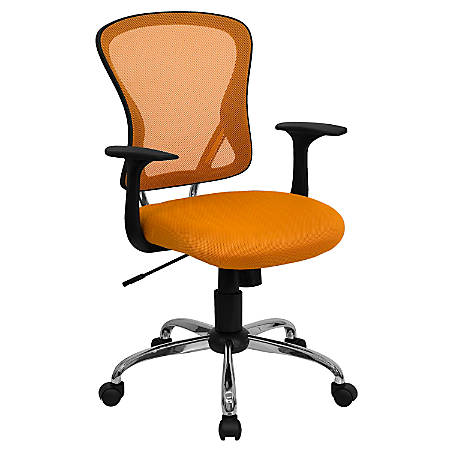 Flash Furniture Mesh Mid-Back Task Chair, Orange/Black/Chrome