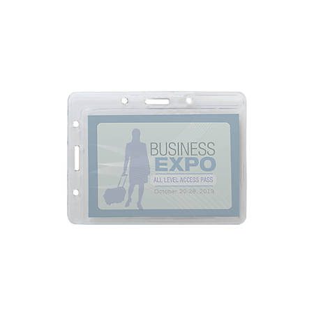 """Office Depot® Brand Convertible Name Badge Holders, 3"""" x 4"""", Pack Of 25"""