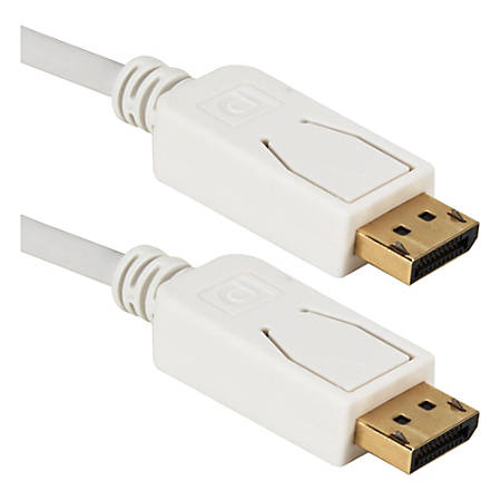 QVS 3ft DisplayPort Digital A/V UltraHD 4K White Cable with Latches