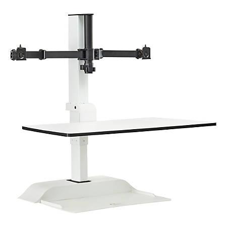 Safco® Electric Desktop Sit-Stand 2-Arm Desk Riser, White