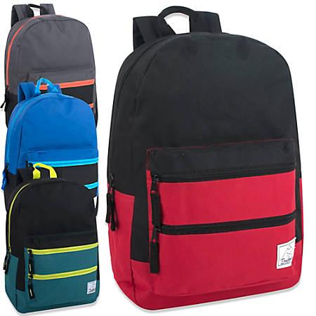 "Trailmaker Twin Zip Pocket Backpacks With 17"" Laptop Pocket, Assorted Colors, Pack Of 24 Backpacks"
