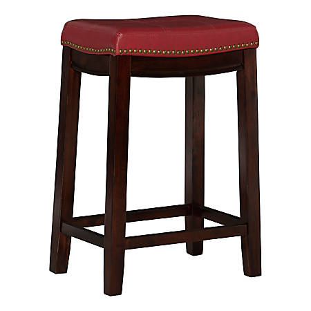 Linon Home Décor Products Walker Counter Stool, Red/Dark Espresso