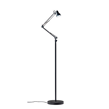 "Adesso® Quest LED Floor Lamp, 64 1/2""H, Black Shade/Black Base"