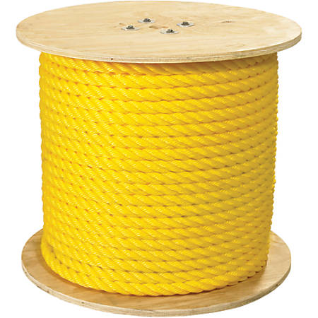 """Office Depot® Brand Twisted Polypropylene Rope, 12,800 Lb, 1"""" x 600', Yellow"""