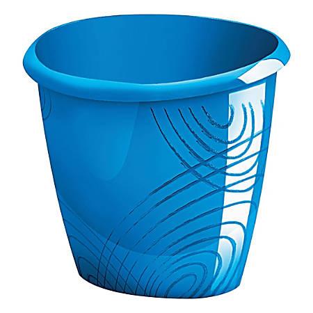 """CEP Origins Plastic Waste Bin, 11-13/16"""" Depth, Ocean Blue"""