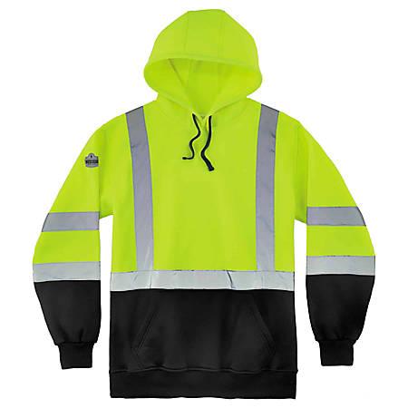 Ergodyne GloWear 8373 Class 3 Hi-Vis Pullover Hoodie, Medium, Black/Lime