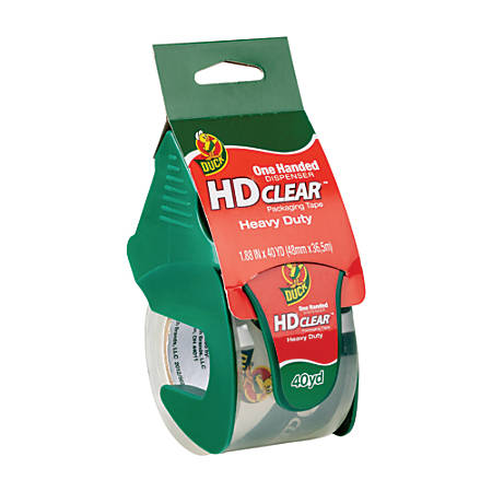 """Duck® HD Clear™ Heavy-Duty Packaging Tape, With Dispenser, 1.88"""" x 40 Yd., Clear"""