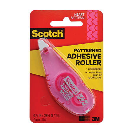 """Scotch® Adhesive Dot Roller, Patterned, 0.27"""" x 26', Pink Hearts"""
