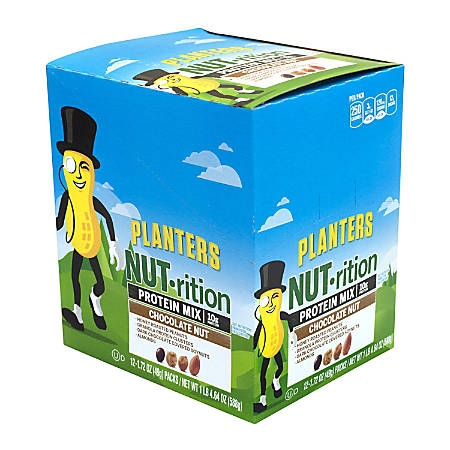 Planters Nut-Rition Chocolate Nut Protein Mix, 1.72 Oz, Box Of 12 Packs