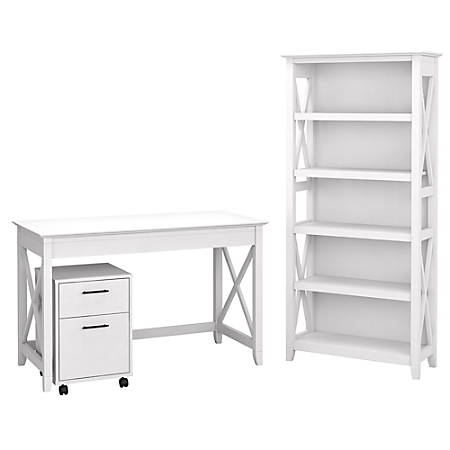 """Bush Furniture Key West 48""""W Writing Desk With 2-Drawer Mobile File Cabinet And 5-Shelf Bookcase, Pure White Oak, Standard Delivery"""