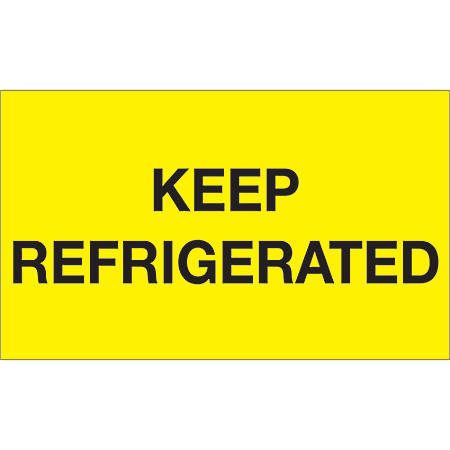 "Tape Logic® Climate Labels, DL1115, Keep Refrigerated, Rectangle, 3"" x 5"", Fluorescent Yellow, Roll Of 500"