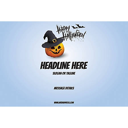 Adhesive Sign, Blue Halloween, Horizontal