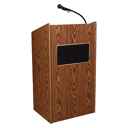 Oklahoma Sound® The Aristocrat Sound Lectern With Sound & Wireless Tie Clip/Lavalier Microphone, Medium Oak