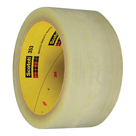 """3M™ 353 Carton Sealing Tape, 3"""" Core, 2"""" x 55 Yd., Clear, Case Of 6"""