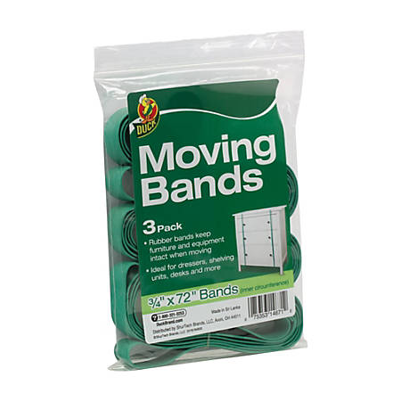 "Duck® Inner Circumference Moving Bands, 3/4"" x 72"", Green, Set Of 3"
