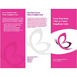 Customizable Trifold Brochure Pink Butterfly