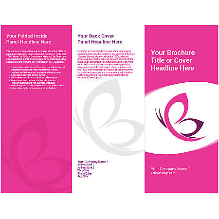Customizable Trifold Brochure, Pink Butterfly